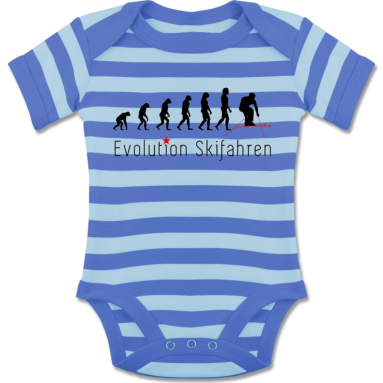 Evolution Baby - Skifahren Evolution - gestreifter kurzarm Baby-Strampler / Body für Jungen und Mädchen