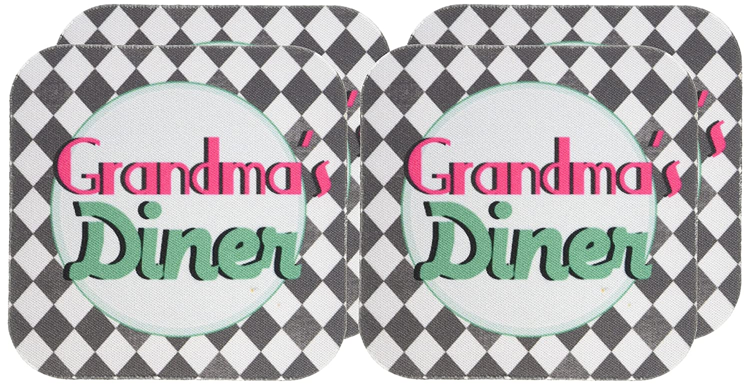 Set of 4 3dRose cst/_151652/_1 Grandmas Diner Sign on Black and White Diamonds Retro Hot Pink Aqua Teal 1950S 50S Fifties Kitchen-Soft Coasters