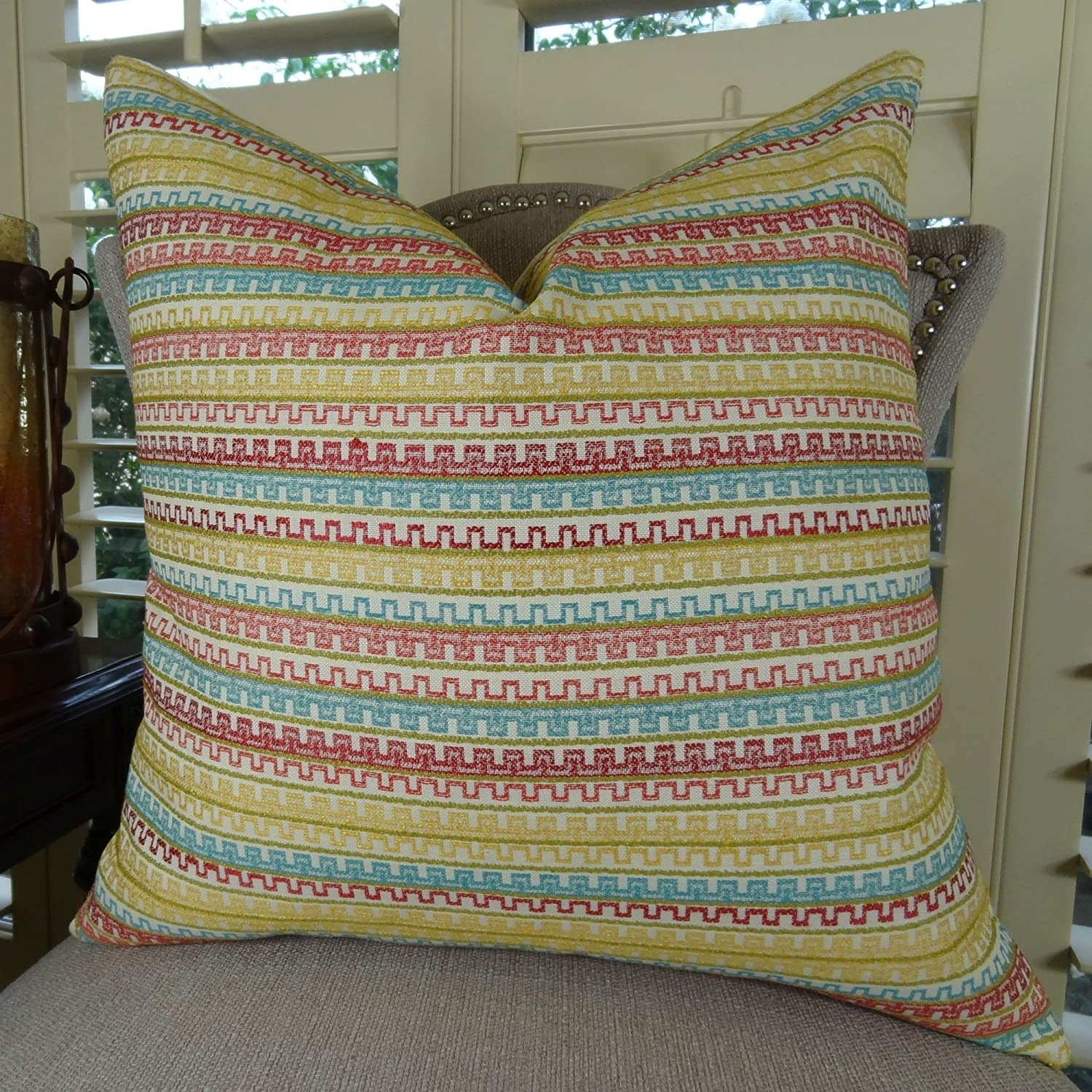 Q .Double Sided 22\ Thomas Collection Handmade in USA Luxury Toss Pillow for Couch Sofa Bed, Made in USA Pillow Insert & Cover, Pink Aqua Yellow Stripe Pillow  11343