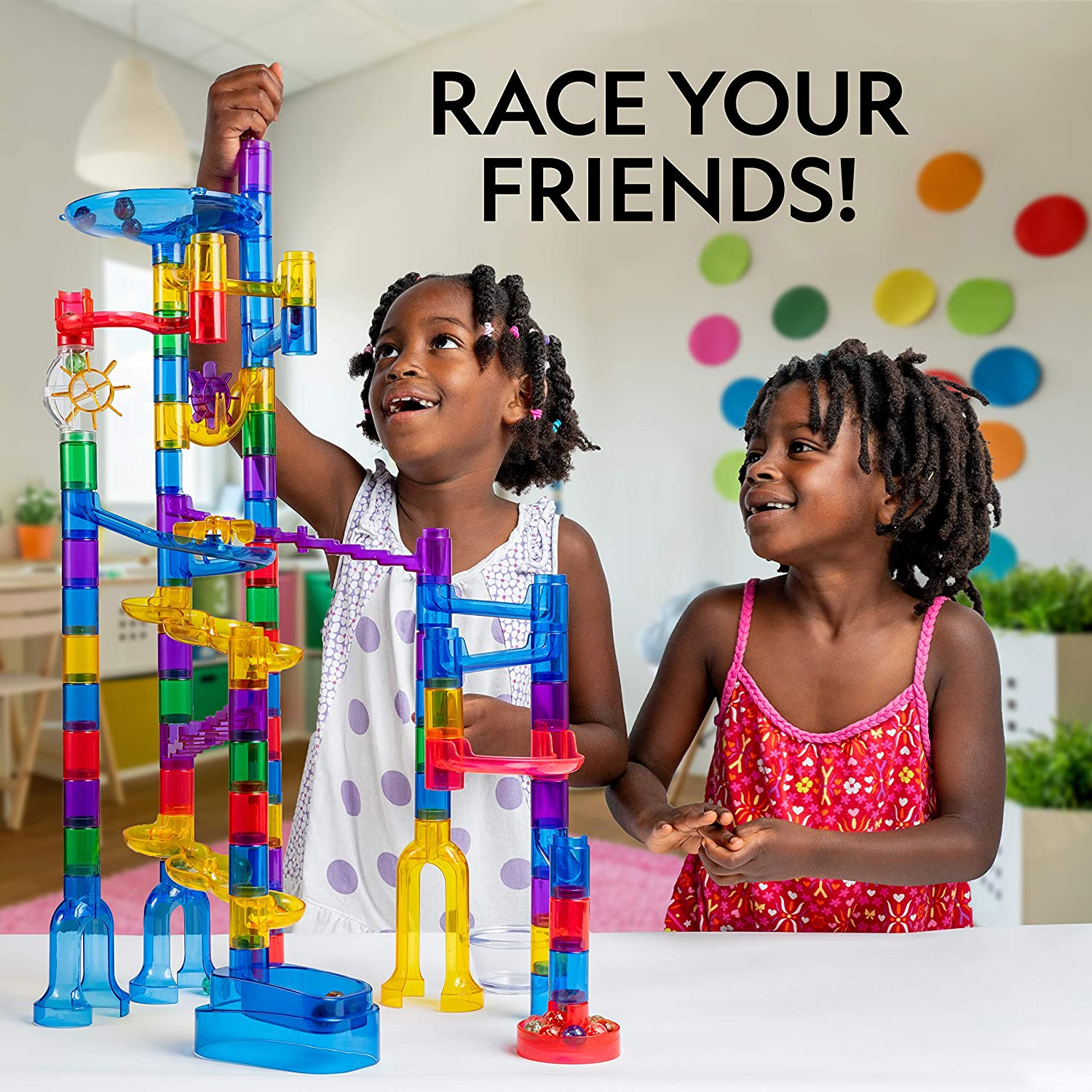 Great Creative Stem Toy for Girls and Boys National Geographic Glowing Marble Run 150 Piece Construction Set with 30 Glow in The Dark Glass Marbles Mesh Storage Bag