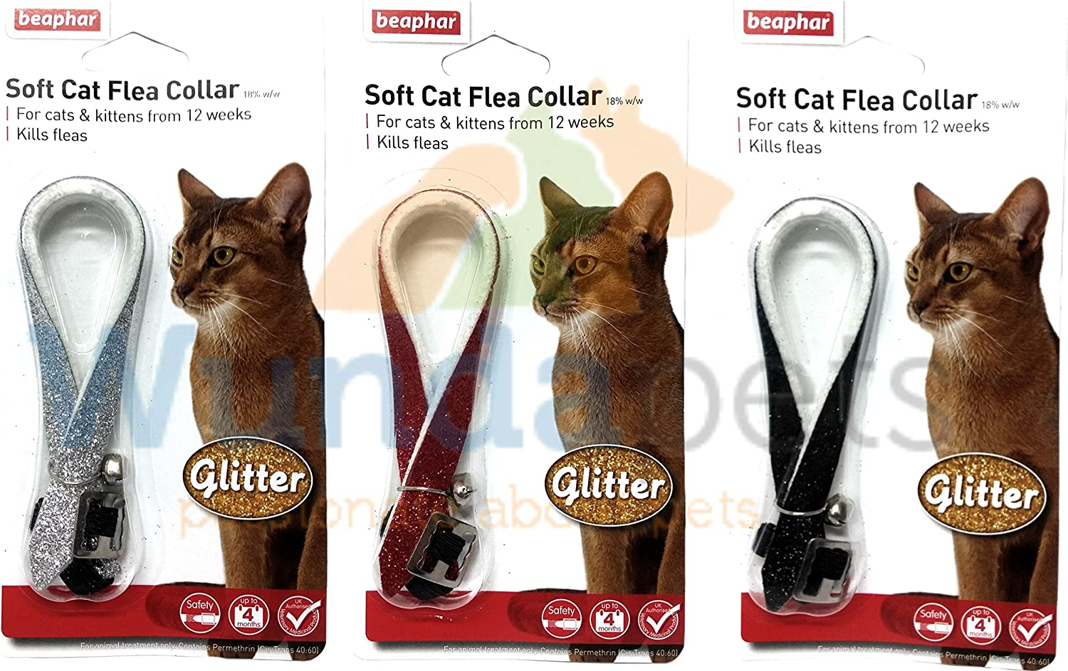 Beaphar Glitter Cat Kitten Flea Treatment Collar With Bell 3 Pack Up To 1 Years Protection Amazon Co Uk Kitchen Home