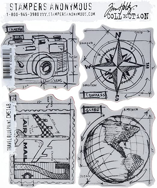 "Stampers Anonymous Tim Holtz Cling Stamps 7/""X8.5/""-Travel Ways"