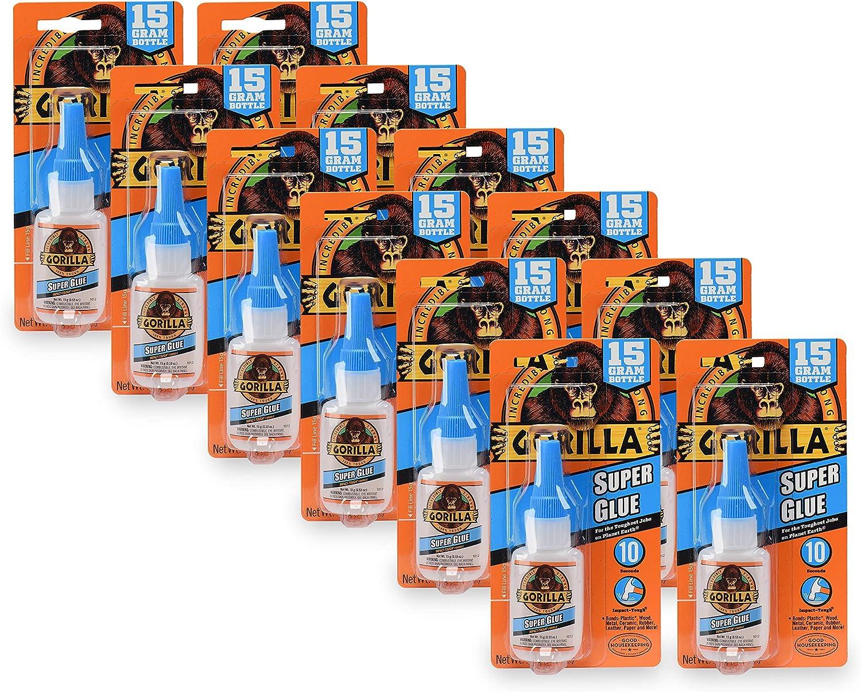 Gorilla Super Glue 15 Gram, Clear, (Pack of 12)