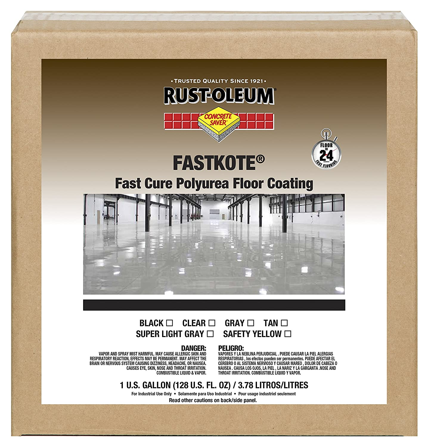Rust-Oleum 285122 Black FastKote Polyurea Floor Coating, 1