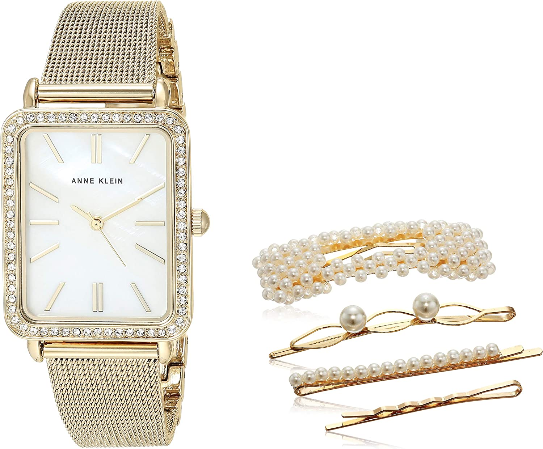 Anne Klein Women's Swarovski Crystal Accented Mesh Bracelet Watch and  Barrette Set, AK/3642