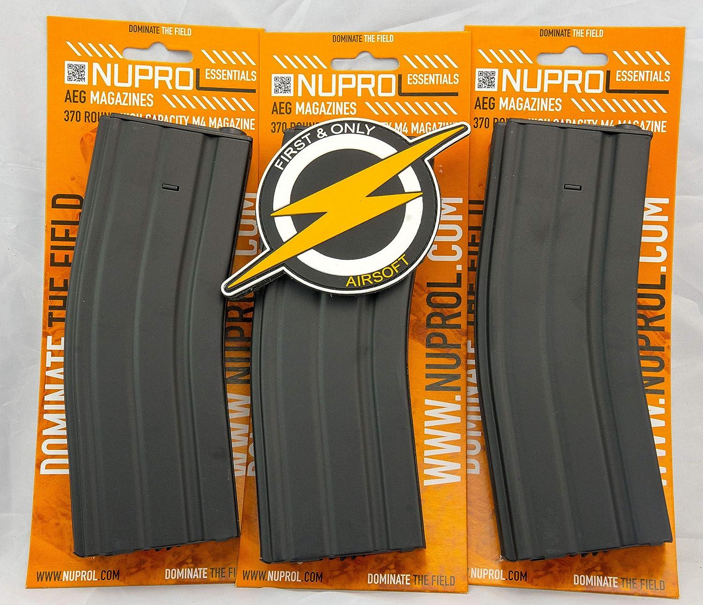 First and Only Airsoft Paquete Triple NUPROL M4 Metal HI-Cap mag Magazine 370 RND y Parche por Primera y /única Venta minorista
