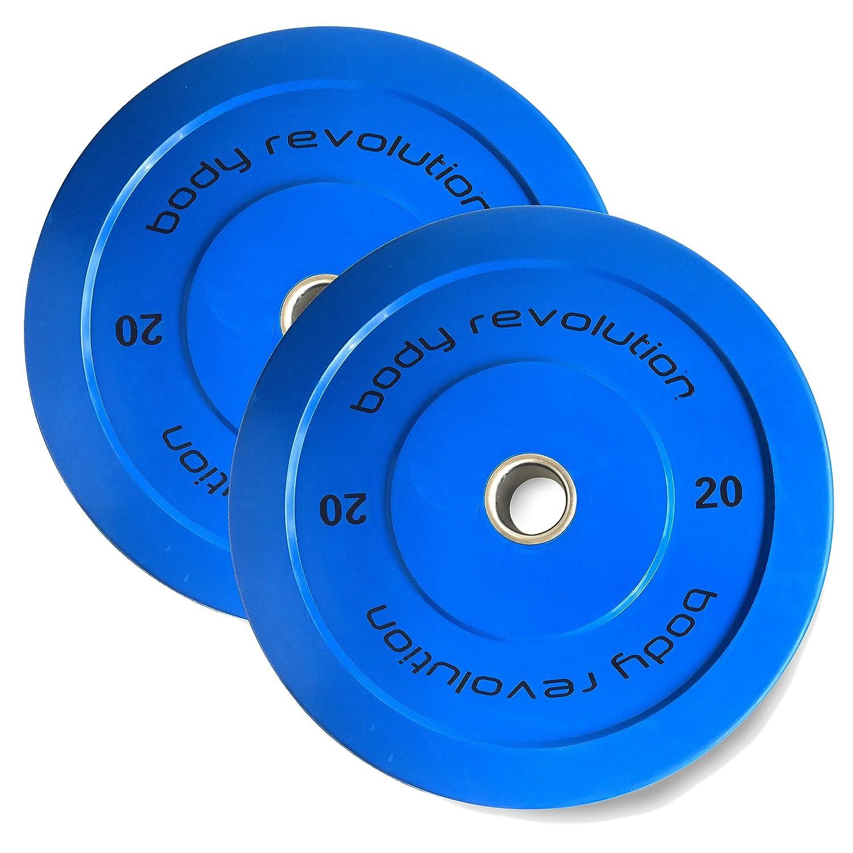 Discos olímpicos Body Revolution, goma, color, 5 cm, para pesas y crossfit, 1,25 kg a 25 kg, 15kg pair: Amazon.es: Deportes y aire libre