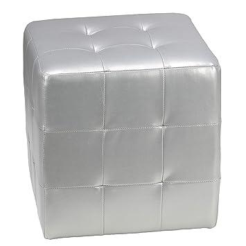Miraculous Cortesi Home Apollo Cube Ottoman Metallic Silver Faux Leather Short Links Chair Design For Home Short Linksinfo
