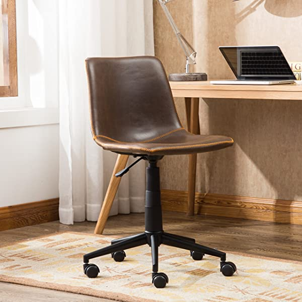 Roundhill Furniture OF1012BR Cesena Faux Leather 360 Swivel Air Lift Office Chair, Brown