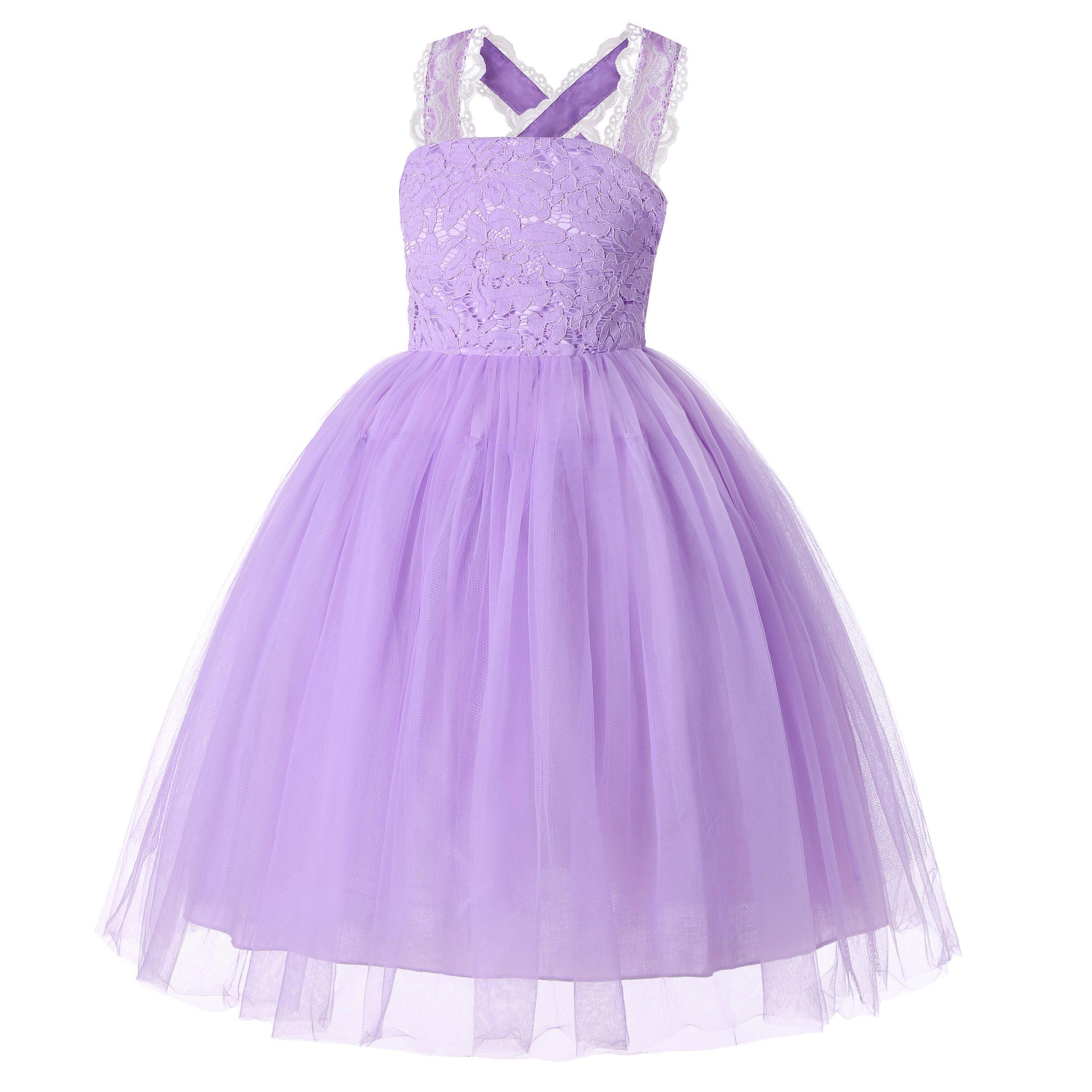Dance Fairy Molliya Wedding Flower Girl Dress Lace Crossed Back Tulle Fluffy Dress for Party(Purple,10)
