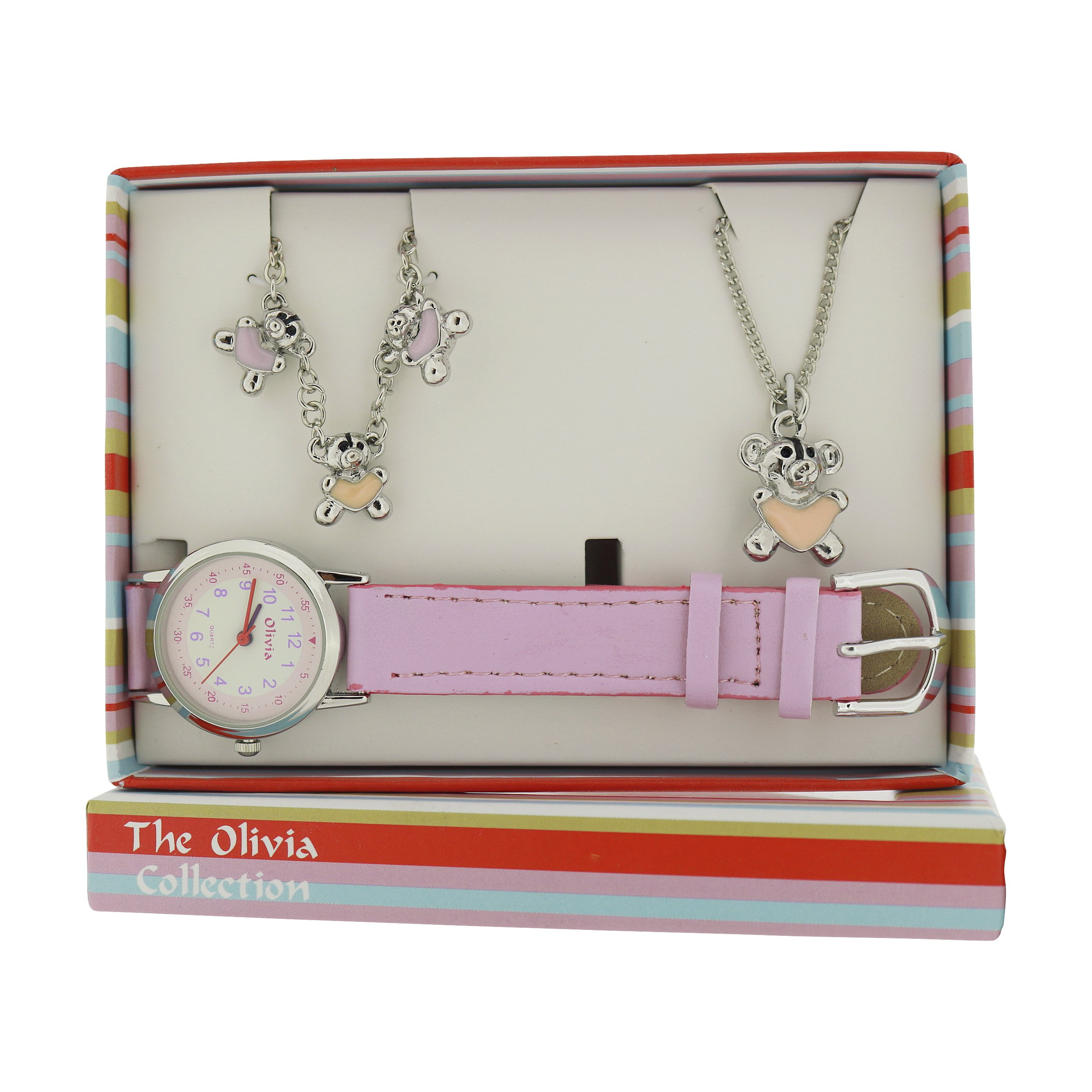 The Olivia Collection Kids Teddy Bear Watch & Jewellery Gift Set For Girls KS006