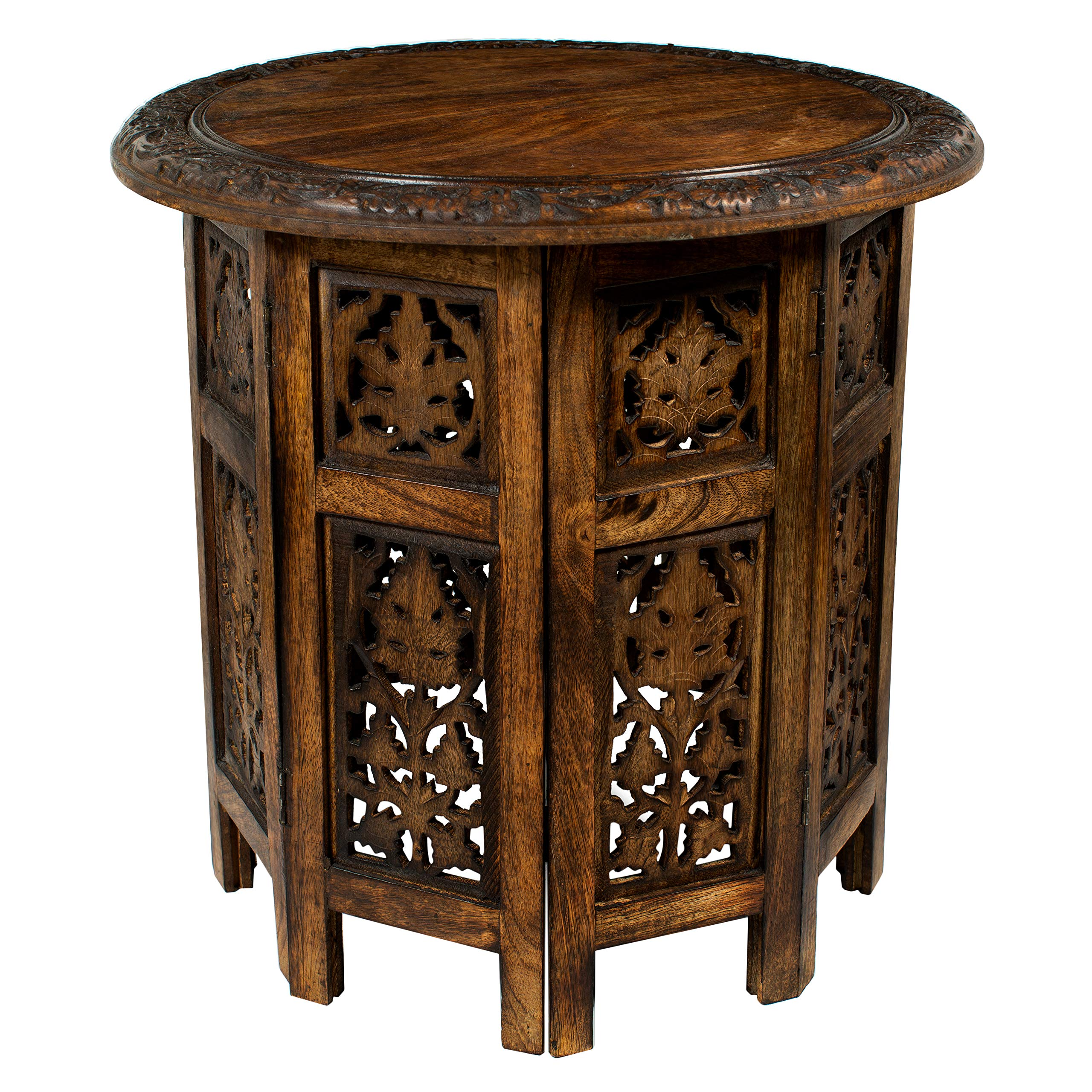 Cotton Craft Jaipur Solid Wood Hand Carved Accent Coffee Table - 18 Inch Round Top x 18 Inch High - Antique Brown by COTTON CRAFT