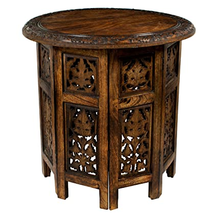099b315b2a8d1 Amazon.com: Cotton Craft Jaipur Solid Wood Hand Carved Accent Coffee Table  - 18 Inch Round Top x 18 Inch High - Antique Brown: Kitchen & Dining