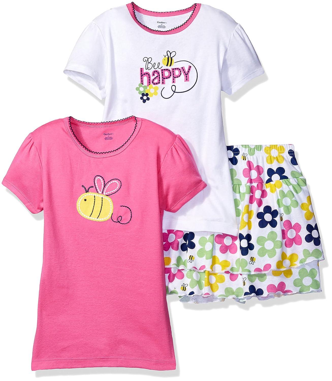 Gerber Baby Girls' 3-Piece Shirt and Skort Set Gerber Children' s Apparel