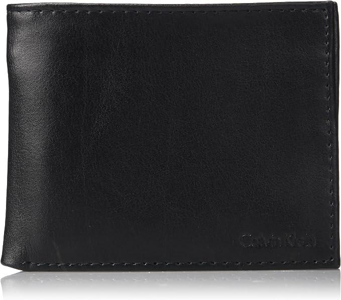 Amazon.com: Calvin Klein billetera de cuero con bloqueo RFID ...