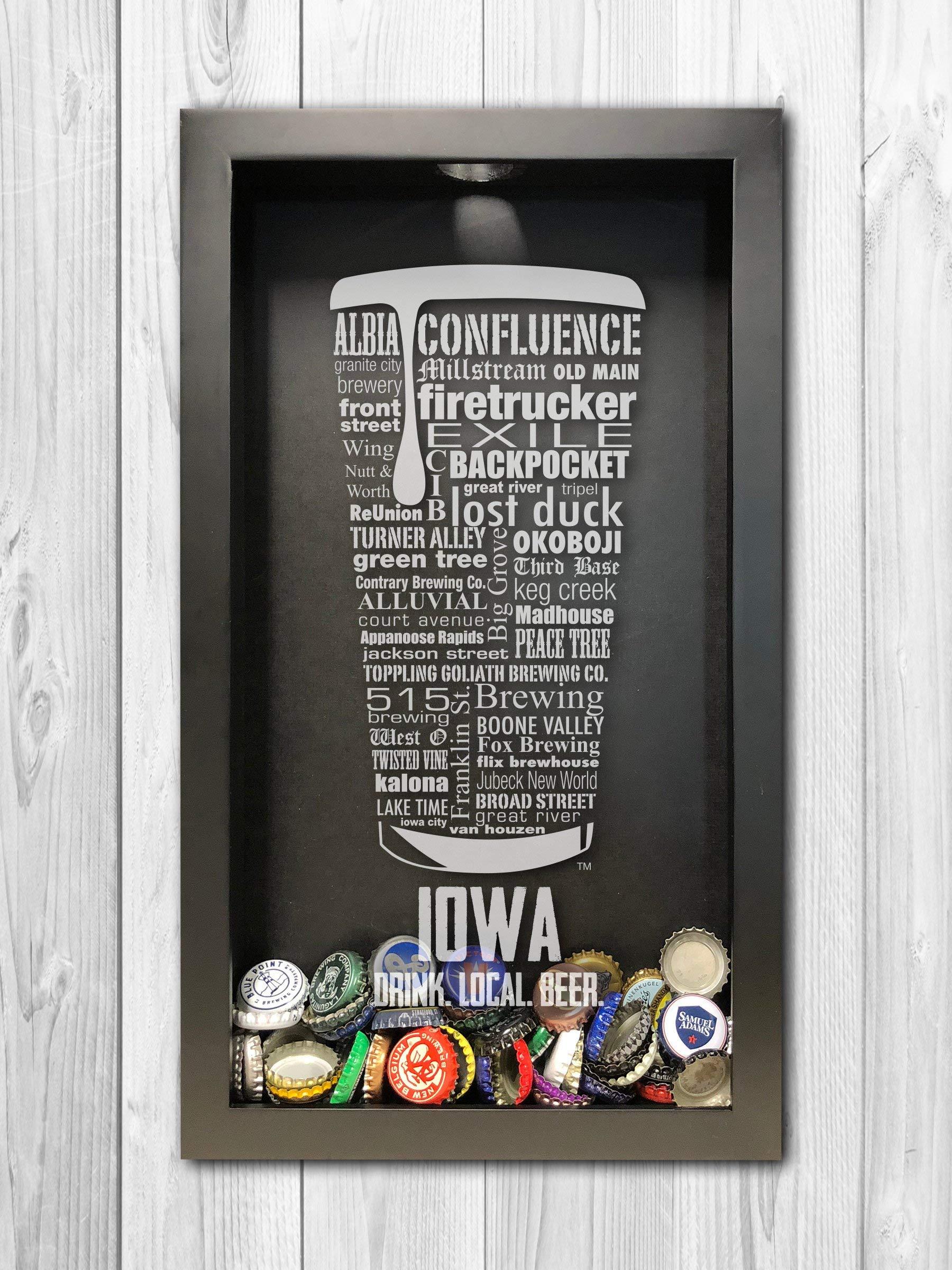 Iowa Craft Beer Typography Bottle Cap Shadow Box, Beer Cap Holder, Mens Gift