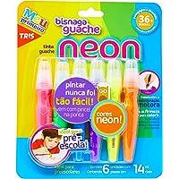 Tinta Guache Em Bisnaga - Neon - 14Ml - Cart C/6 Cores - Tris