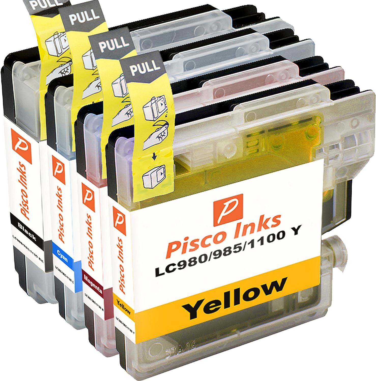 4 Pisco Inks LC985 Cartuchos de Tinta Brother DCP-J125 DCP ...