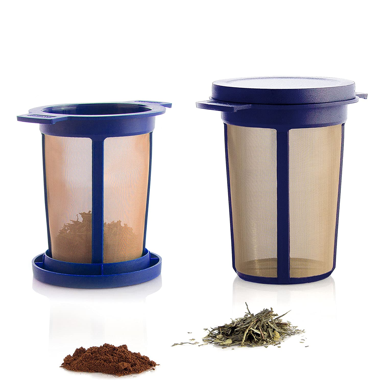 Finum Reusable Stainless Steel Coffee and Tea Infusing Mesh Brewing Basket, Large, Blue