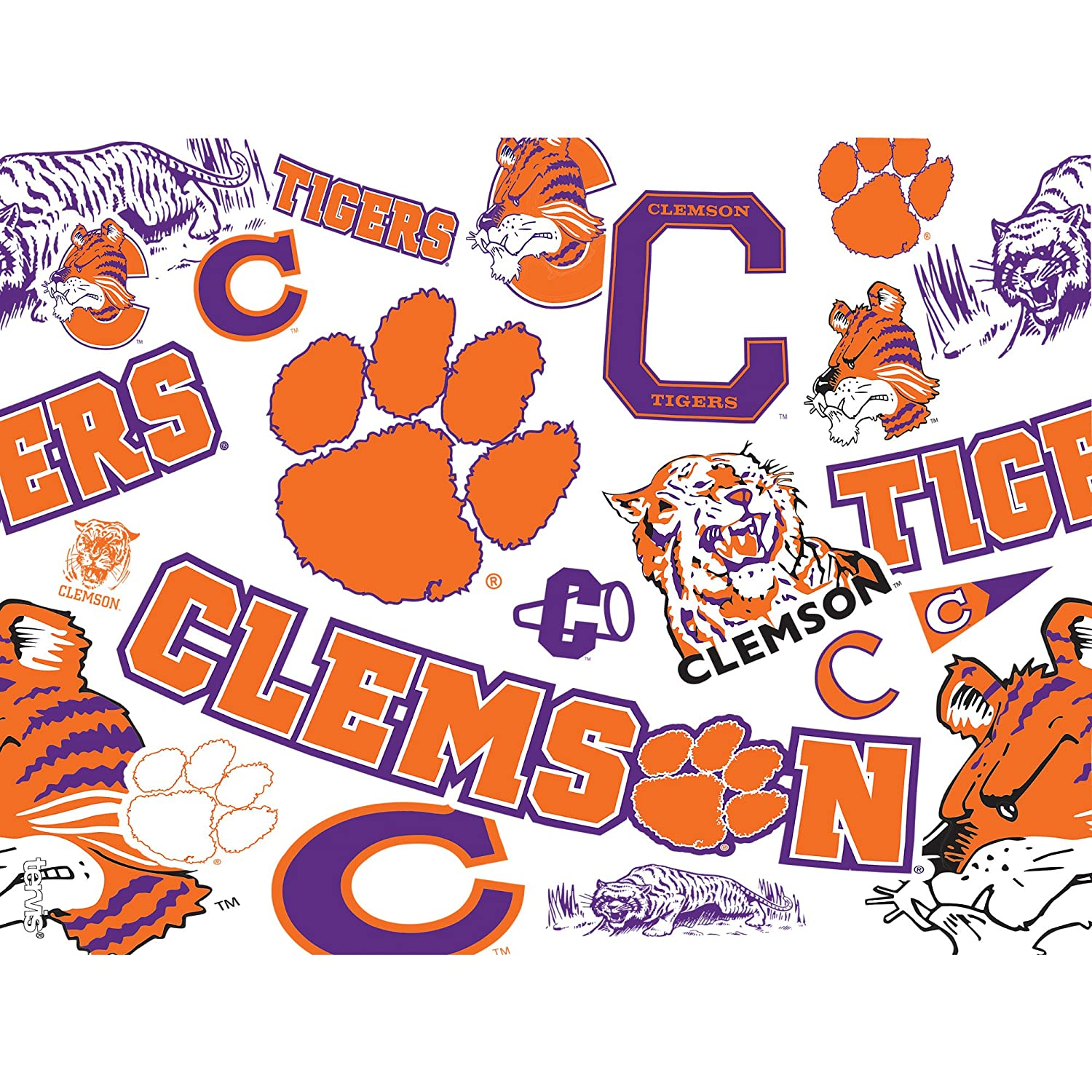 Tervis 1239077 Clemson Tigers All Over Insulated Tumbler With Wrap 24 oz Clear