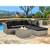 Suncrown Outdoor Furniture Sectional Sofa (4-Piece Set) All-Weather Grey Checkered Wicker with Black Washable Seat Cushions & Glass Coffee Table | Patio, Backyard, Pool | Waterproof Cover & Clips