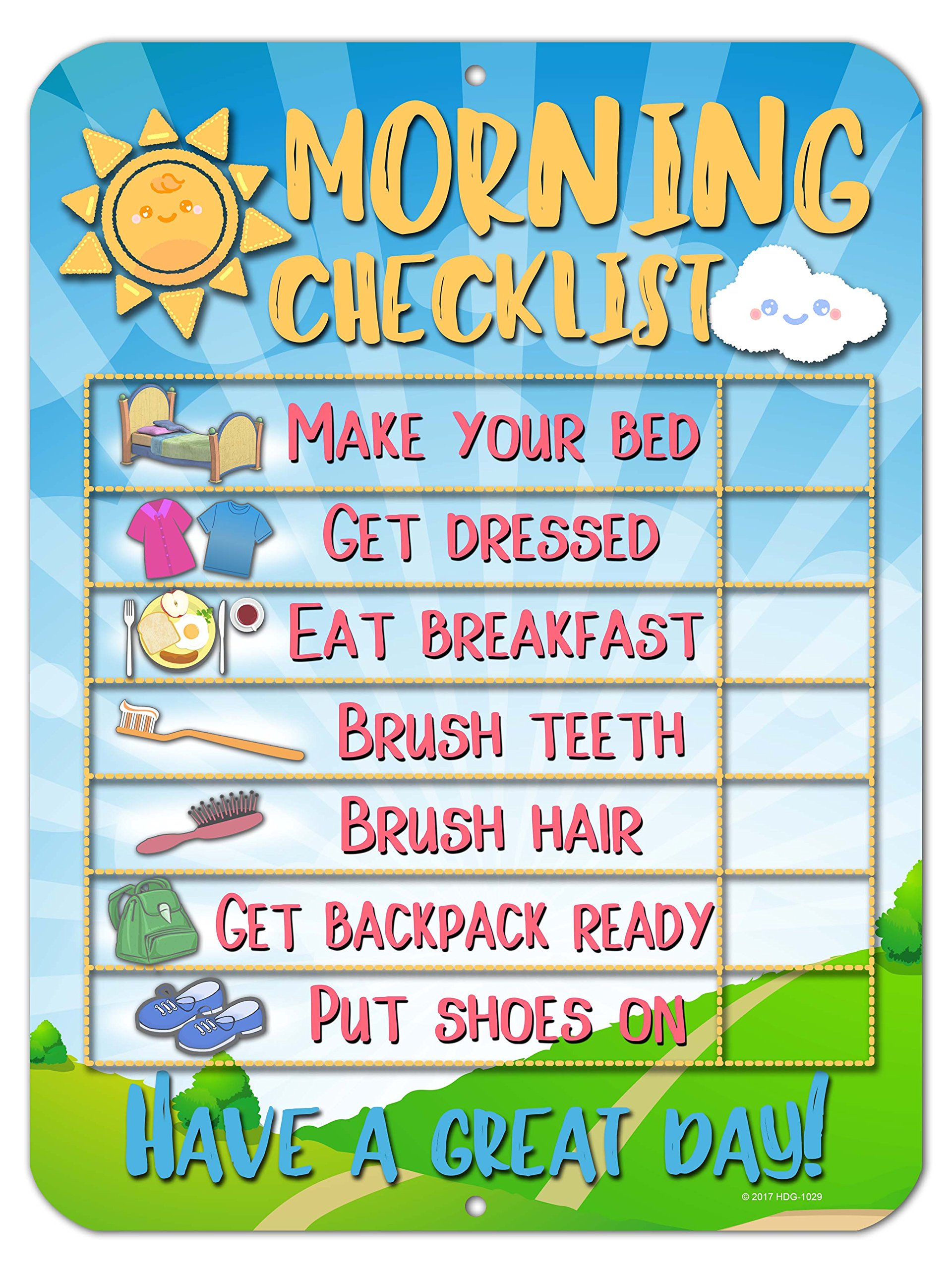 Honey Dew Gifts Morning Checklist Routine Reward Chart for Toddlers and Autism - Metal Tin Sign for Durability and Easy Wall Hanging