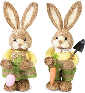 Standing Bunny Statues, Easter Bunny Figurines for Party and Home Decor (12 in, 2 Pack)