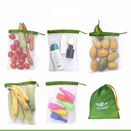 abdfc44116ca Eco Nation Multipurpose Mesh Bag Vegetable, Fruit Storage Drawstring Bag  (Set of Five with Multipurpose Storage Pouch)
