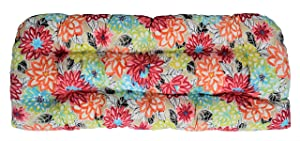 "RSH Décor Indoor Outdoor Floral Wicker Large (44"" x 22"") Tufted Loveseat Settee Cushion - Yellow, Orange, Blue, Pink Bright Artistic Floral Cushions"