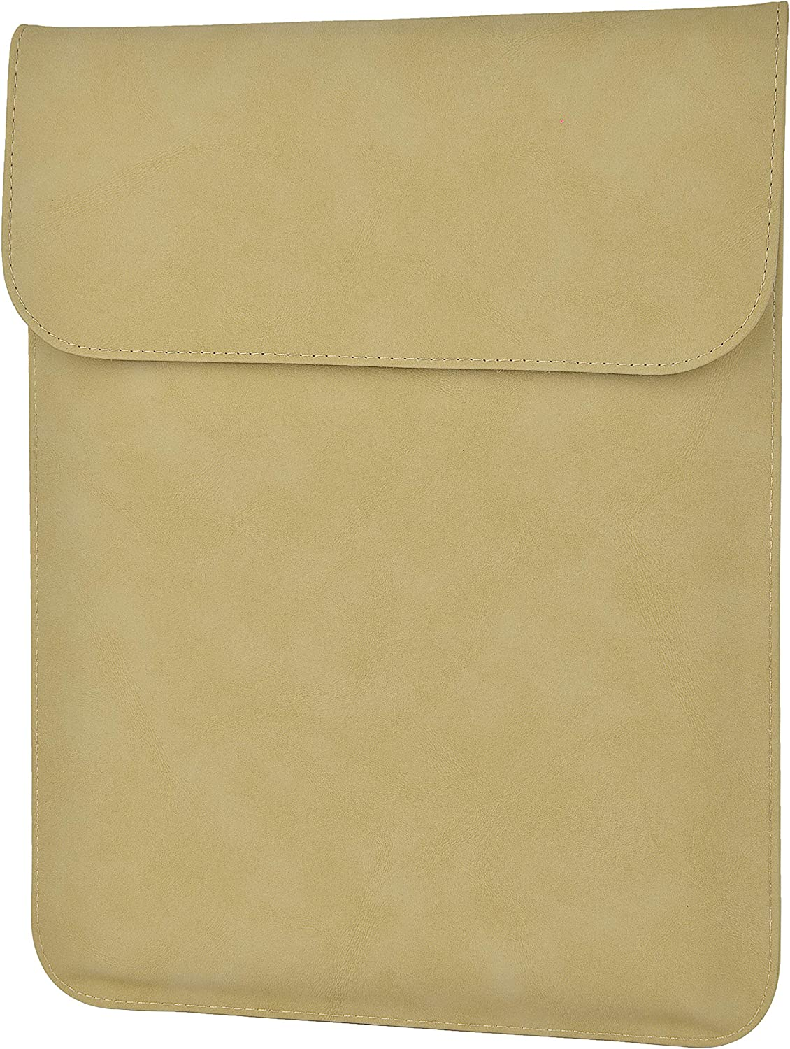 LuvCase Laptop Suede Leather Flap Envelope Sleeve Pouch Case Compatible MacBook Pro 15-16 Inch, A2141/A1707/A1990/A1398/A1286, Chromebook, Acer, Thinkpad HP Notebook (Khaki Magnetic Sleeve (Vertical))