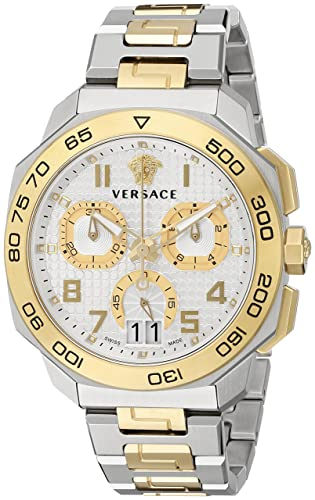 Versace Men s VQC030015 DYLOS CHRONO Analog Display Swiss Quartz Two Tone  Watch cbf38eb74a3