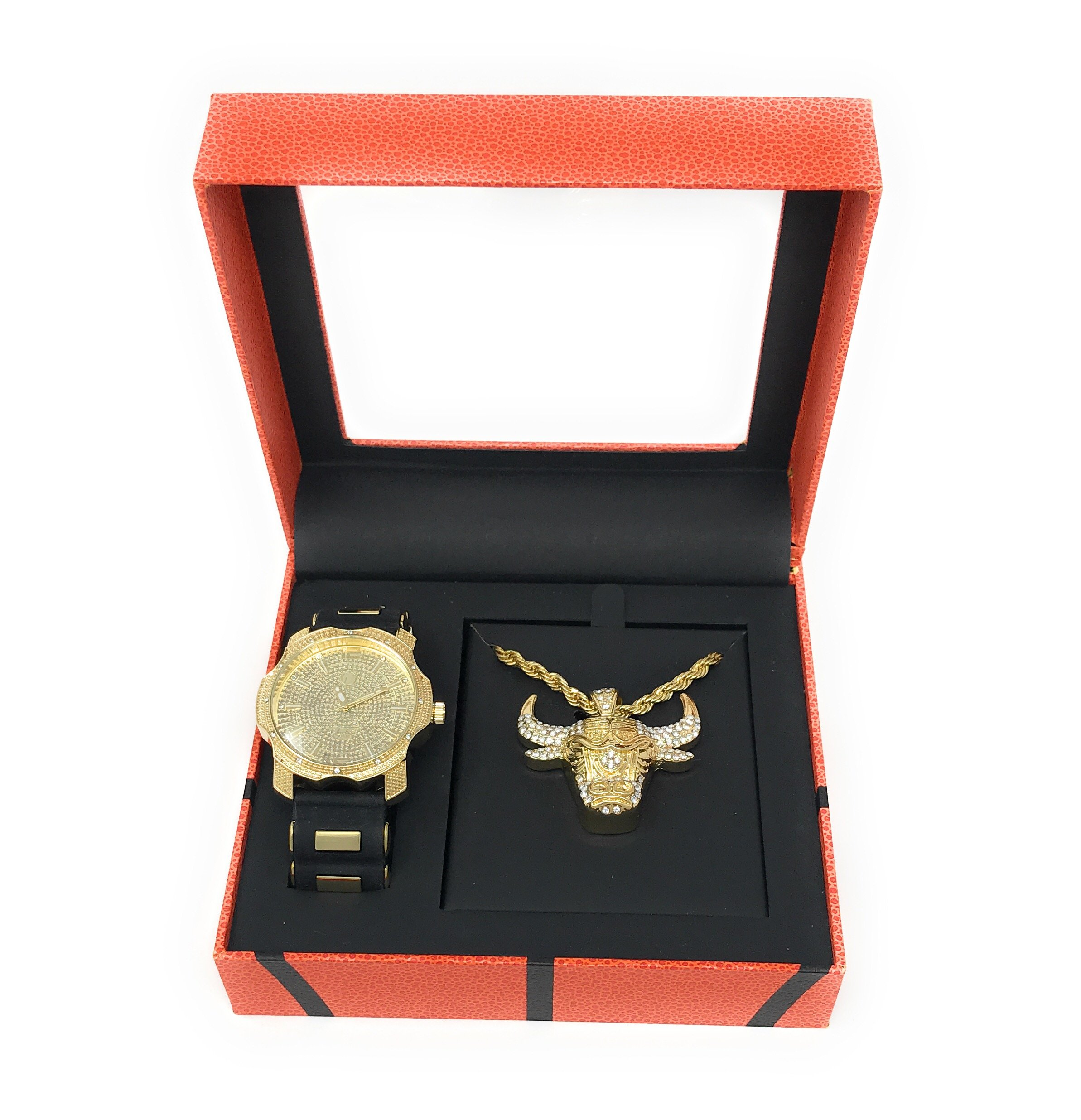 Men's Hip Hop Gold Watch and Iced Out Bulls Basketball Pendant on Gold Rope Chain Gift Set