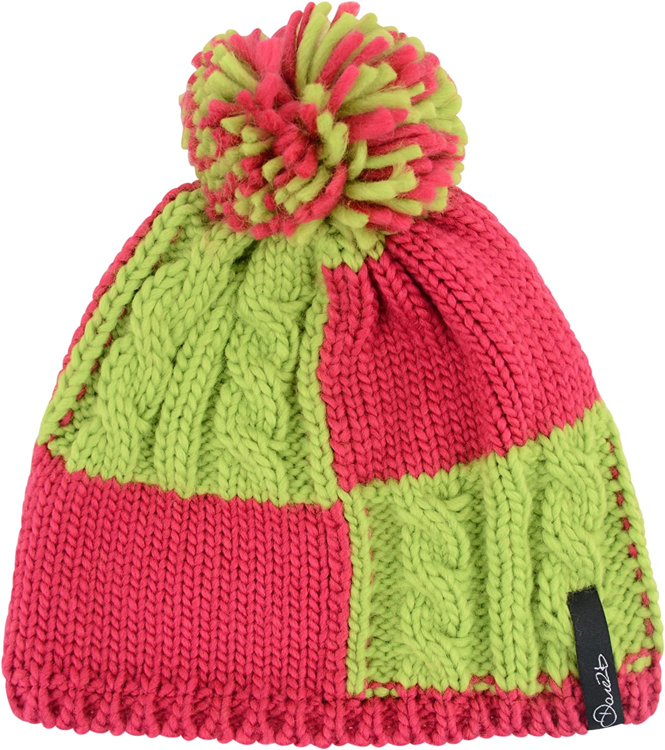 11-13 Years Dare 2b Girls Reverie Beanie Hat-Electric Pink//Lime