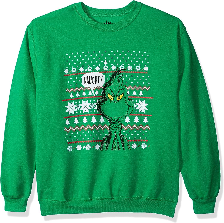 Dr Seuss Mens Ugly Christmas Crew Sweatshirt Suit Vest
