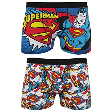 DC Comics Superman Mens Cotton Rich Boxer Shorts (2 Pairs) (S ... eb04e06706e