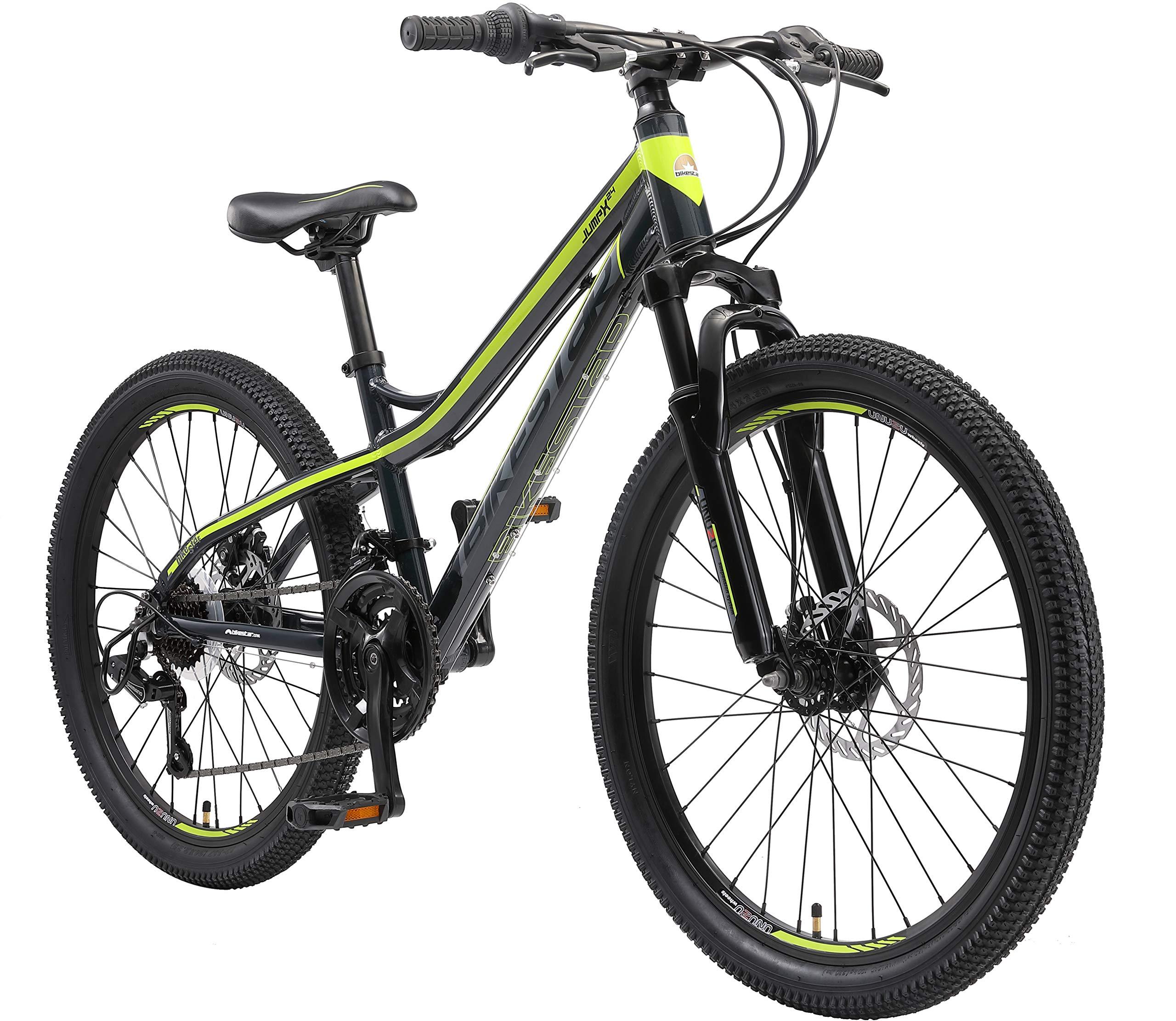 BIKESTAR Kids Mountain bike aluminium 24 Inch 10-13 years | Children youth bicycle 21 gear Shimano, Disc Brake, Suspension Fork, Hardtail