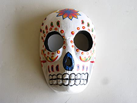 Wooden Hand Carved Sugar Skull Day Of The Dead Mask White