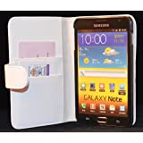 New High Quality White Wallet Leather Case for Samsung Galaxy Note GT-N7000 / i9220 with Card Holder + Free Screen Protector