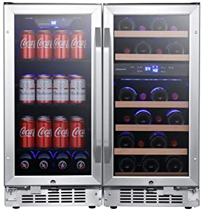 EdgeStar CWBV80261 30 Inch Wide 26 Bottle 80 Can Side-by-Side Wine and Beverage Center