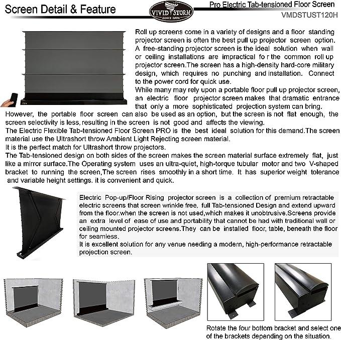 Amazon.com: VIVIDSTORM 4K/3D/UHD Tab-tensioned Projector ...