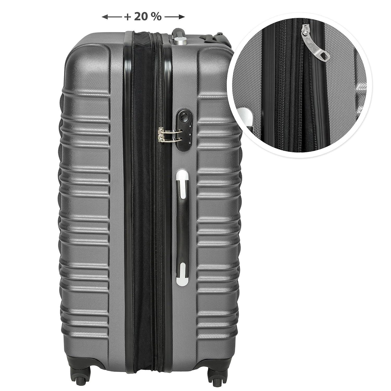 diverses Couleurs au Choix - poign/ée t/élescopique Argent | no. 402025 roulettes 360/° TecTake Set de 4 valises de Voyage de ABS Serrure /à Combinaison int/égr/ée