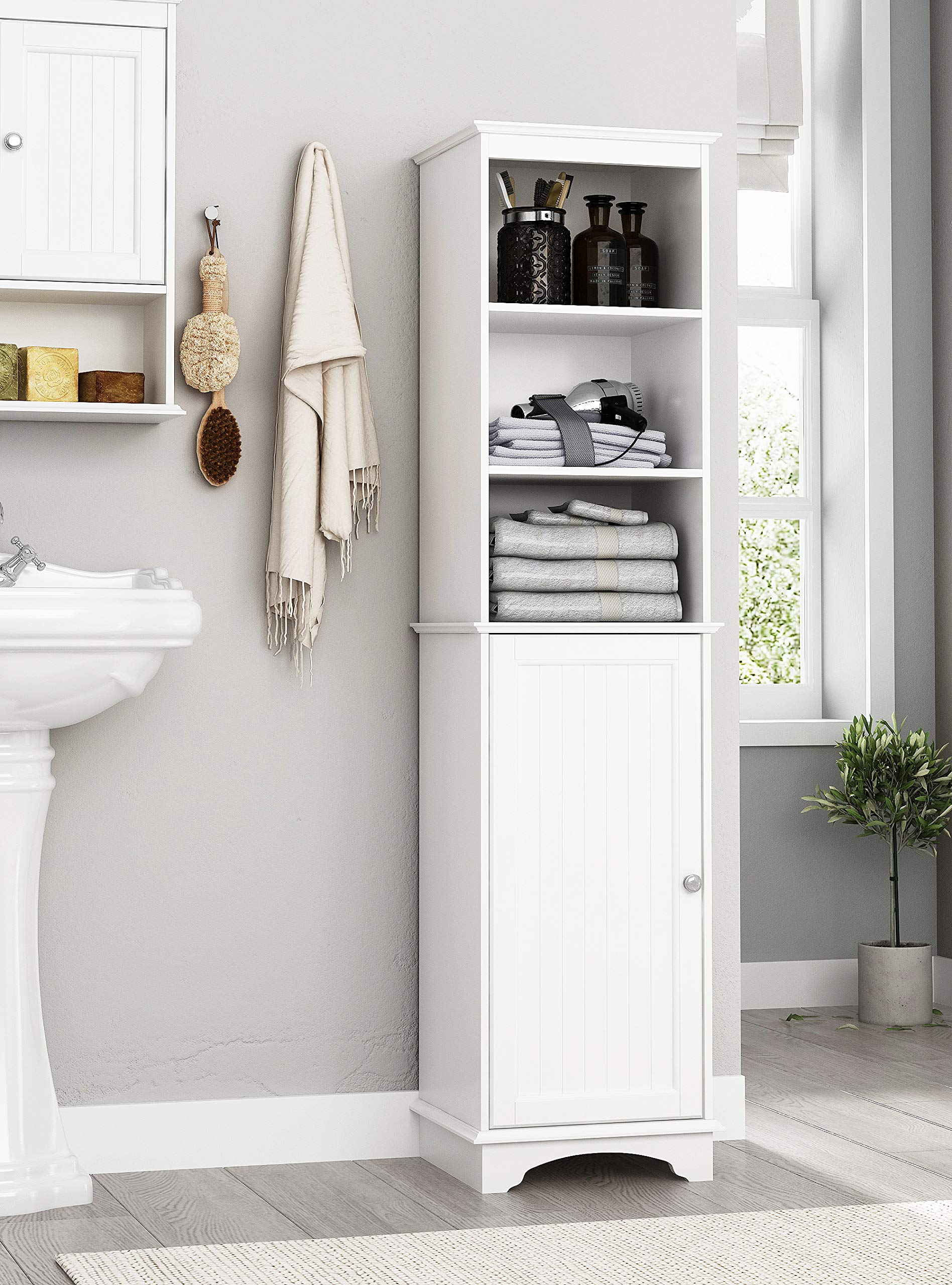 Spirich Home Freestanding Storage Cabinet with Three Tier Shelves, Tall Slim Cabinet, Free Standing Linen Tower, White Finish