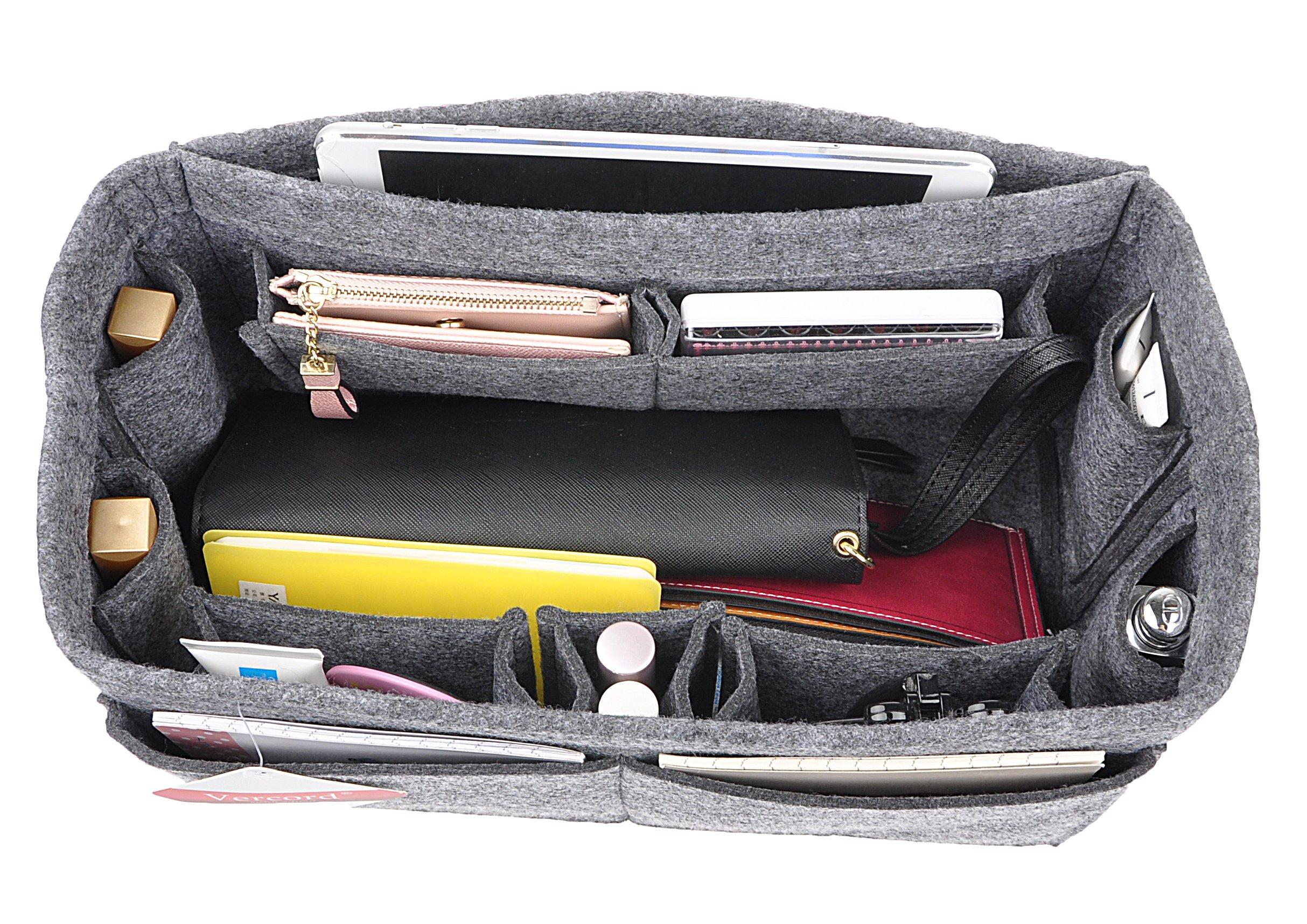 12-Pocket Felt Purse Organizer, Bag Handbag Organizer Insert For Women, Bag in Bag, Speedy 30 and Speedy 35 Grey L