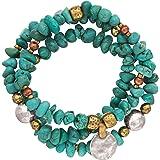 "Silpada Sterling Silver, Brass, Copper and Howlite Stretch Bracelets, 6.75"""