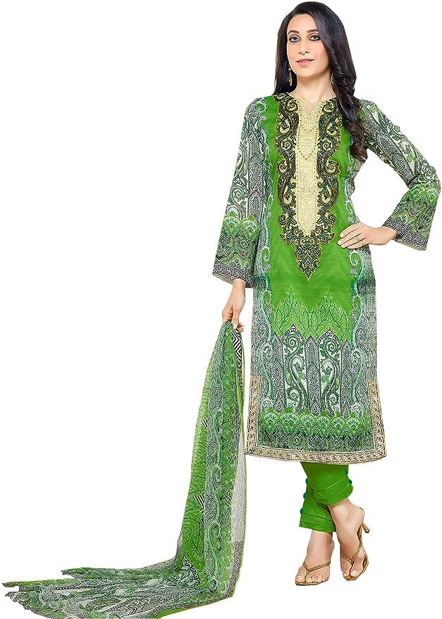 Lebaas Women's Cotton Dress (SLUEBB06ME_Parrot Green_Free Size) Dress Material at amazon