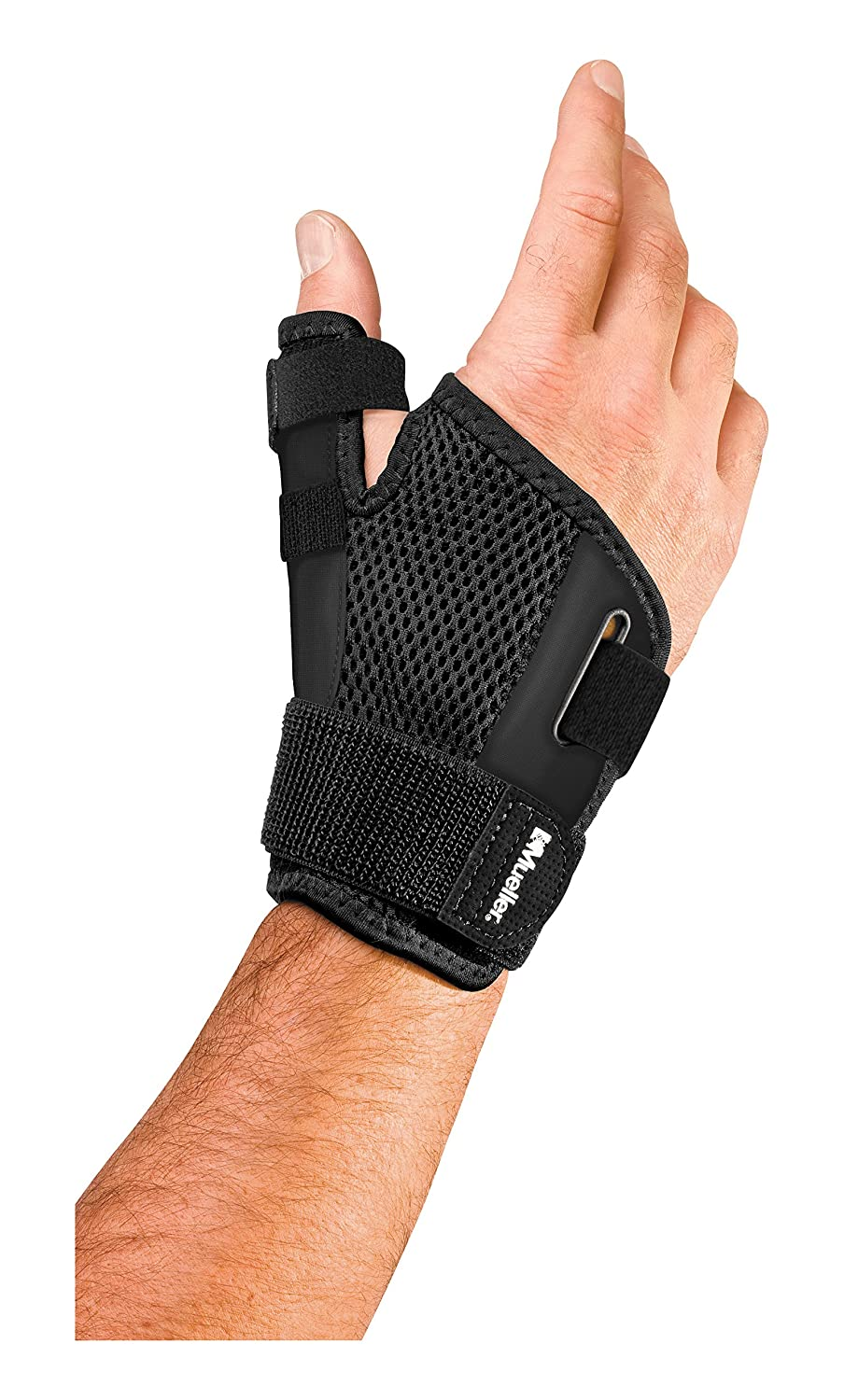 Mueller Sports Medicine Reversible Thumb Stabilizer, Black, Measure Around  Wrist- Fits 5 5 - 10 5 Inches
