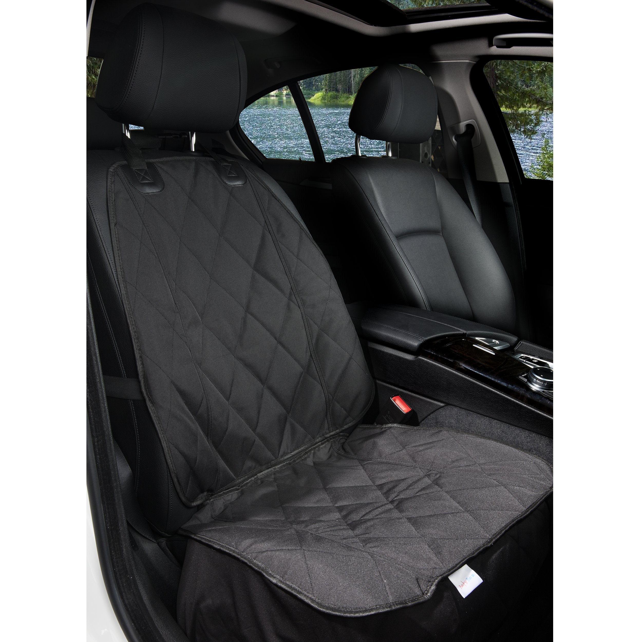 BarksBar Pet Front Seat Cover for Cars - Black, Waterproof & Nonslip Backing with Anchors, Quilted, Padded, Durable Pet Seat Covers for Cars, Trucks & SUVs by BarksBar