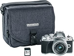 Olympus OM-D E-M10 Mark III Camera Kit with 14-42mm EZ Lens (Silver), Camera Bag & Memory Card, Wi-Fi Enabled, 4K Video