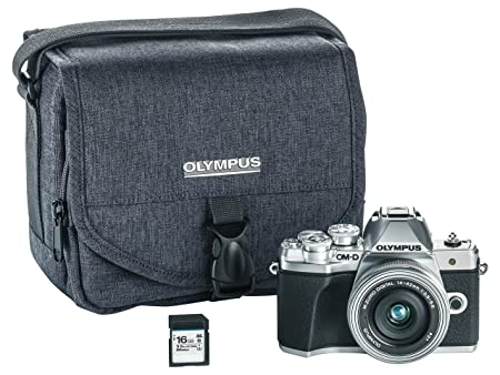 Olympus OM-D E-M10 Mark III camera kit with 14-42mm EZ lens (silver), Camera Bag & Memory Card , Wi-Fi enabled, 4K video Mirrorless System Cameras at amazon