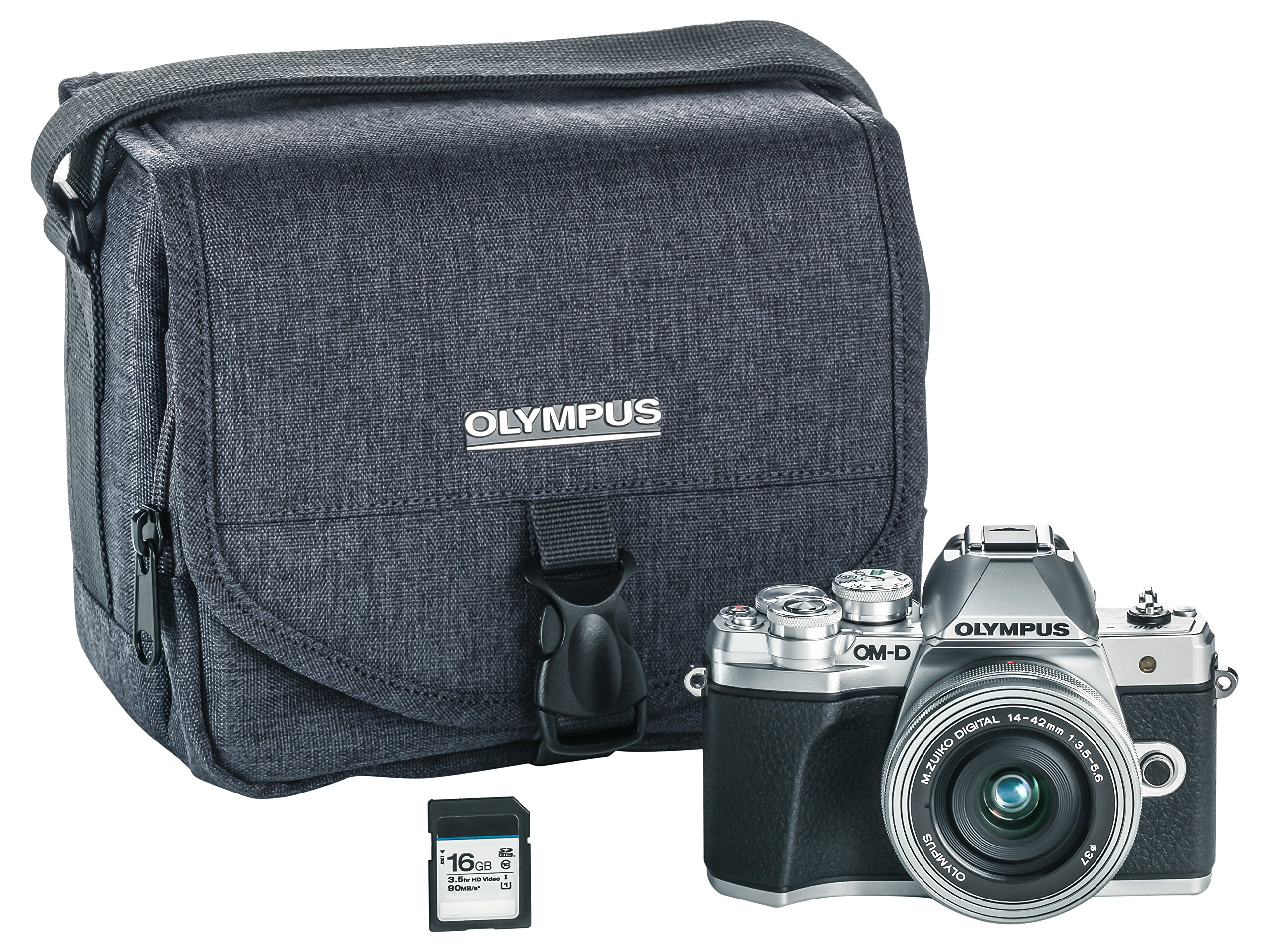 Olympus OM-D E-M10 Mark III camera kit with 14-42mm EZ lens (silver), Camera Bag & Memory Card , Wi-Fi enabled, 4K video by Olympus